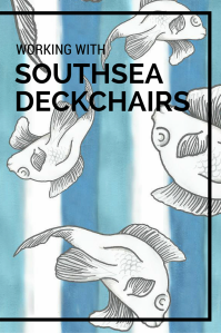 Southsea Deckchairs approached my University course to create a series of designs based on 'Coastal Patterns'. The idea was to come up with a theme that wasn't too stereotypical. I decided to use Japanese art to inspire my design series - such as famous artist Katsushika Hokusai. I decided to draw a series of fish, stripes, waves and bamboo in order to create my full length design and design swatches. I used black markers to mimic the graphic style of Japanese artwork.