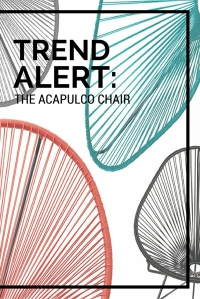 The Acapulco chair may look very contemporary, but they have been around for decades. The Acapulco chair was originally produced in Mexico, in a town named (you guessed it) Acapulco in the 1950s. Usually made of vinyl cords on a metal, slightly pear-shaped frame, the Acapulco chair has most commonly been used as outdoor lounge seating, in bright, tropical colours. Lately, designers have been producing some variations on the Acapulco theme, which can be seen within many well known retailers. To see more, head over to my blog!