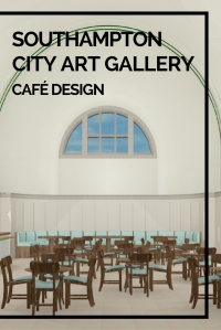 My latest University project was to design a café for Southampton City Art Gallery. Our brief was to design a cafe space for both the upstairs art gallery and the downstairs space. The cafe is aimed at bringing younger people and families into the gallery, so it has to be quite quirky and fun. The Art Gallery is a grade II* listed building, meaning we cant touch the walls upstairs (apart from the pillars), change the floors or put in any additional lighting upstairs.