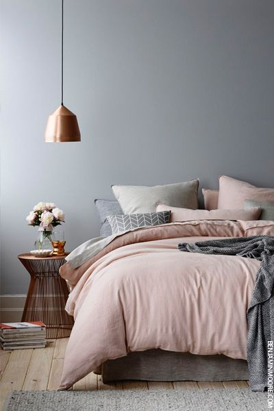 blush and grey bedroom