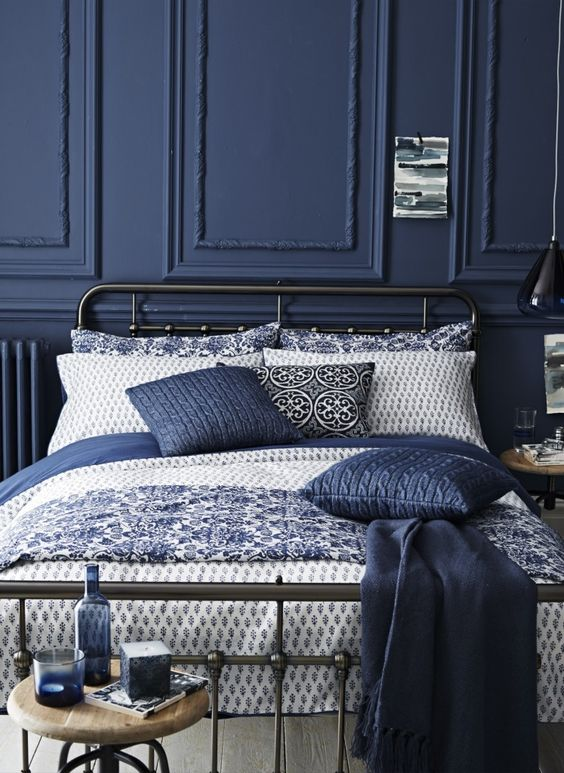 indigo and white bedroom