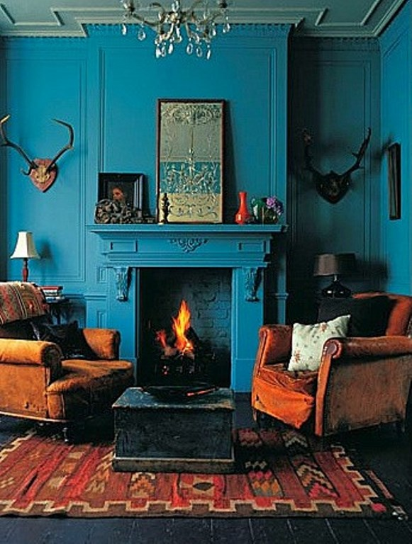 Teal and Burnt Orange living room