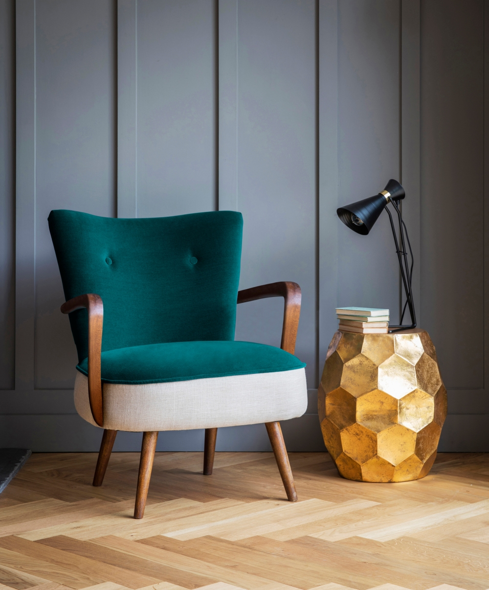 Calvin Armchair in Dark Teal Velvet and Linen.jpg